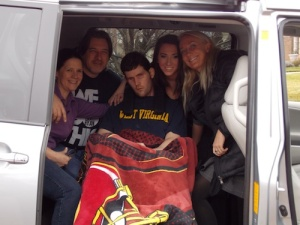 The Diviney Family along with myself in the van. L-R: Ryan's mother Sue, Ryan's father Ken, Ryan, Ryan's sister Kari.