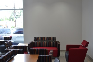 A portion of the customer waiting area